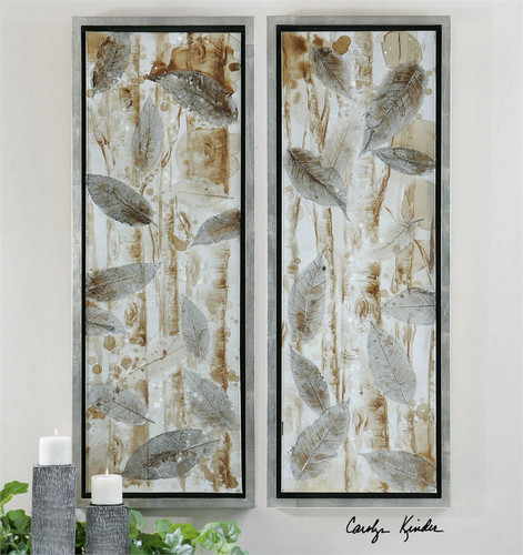 Pressed Leaves Set/2 - Hand Painted Artwork