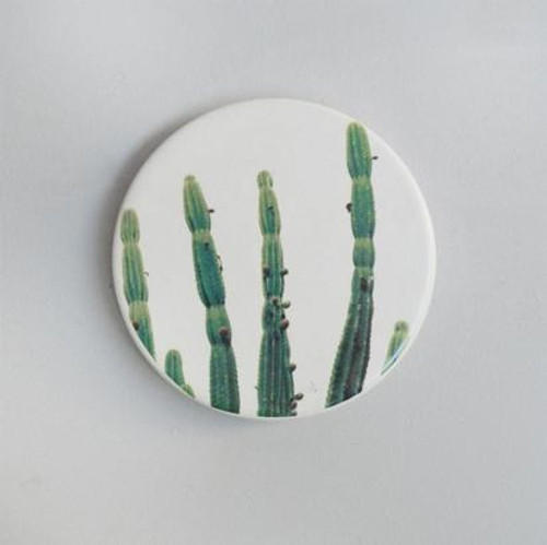 Printed Cactus Ceramic Coaster Set of 4
