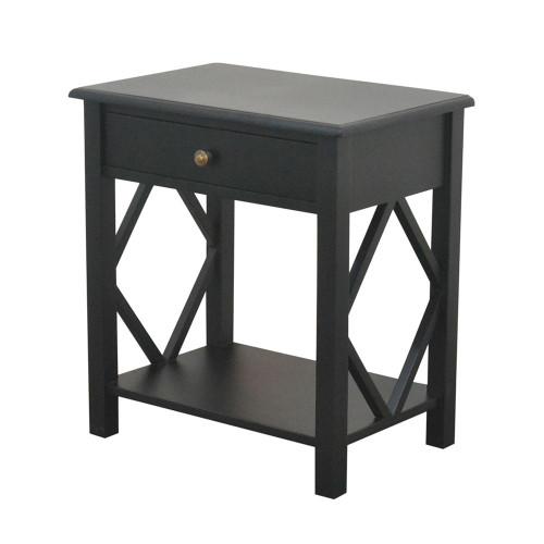 West Hampton Side Table 1 Drawer - Black