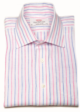 Linen Sky Pink Stripes (Slim Fit)