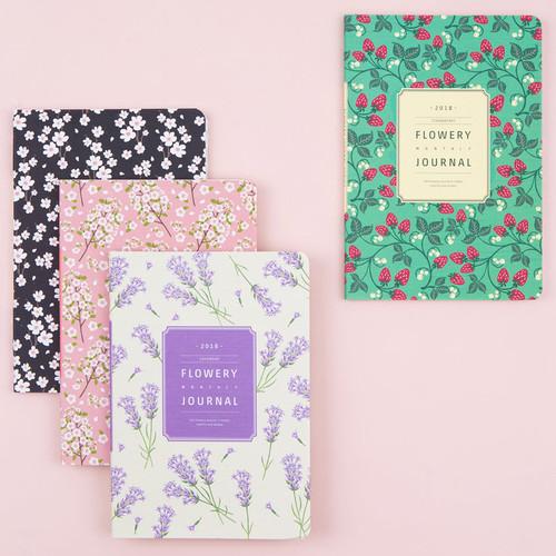 2018 Flower pattern dated monthly journal scheduler