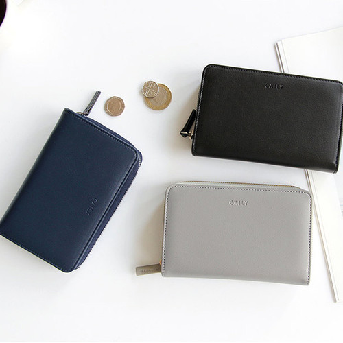 Caily zip around accordion medium leather wallet