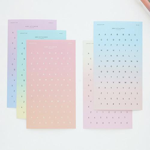 Gradation alphabet deco paper sticker