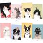Vivid cat and puppy illustration postcard - A