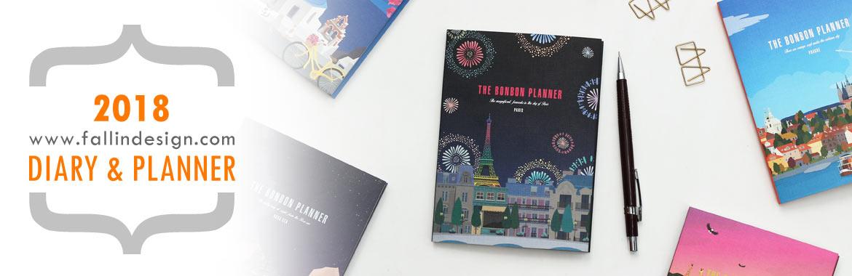 Fallindesign 2018 diary, planner, agenda, scheduler