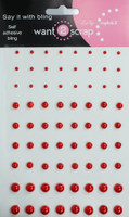 72 Count - Red Pearls - Self Adhesive