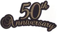 50th Anniversary laser die cut in Gold Glitter