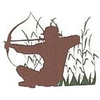 Archery Hunter in field die cut