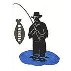 Fisherman in Lake Laser Design