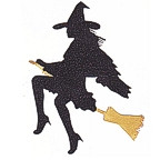 Sexy Witch on Broom - Glitter and Gold!
