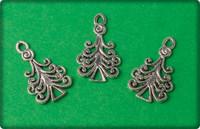 Christmas Tree Swirls Charm - Antique Silver