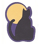 Cat and Moon Halloween Design - 3 Colors!