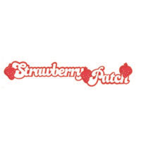 Strawberry Patch Title Strip with Flocked Strawberries!