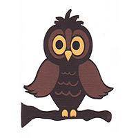Owl on Branch - 3 Color - CUTE!