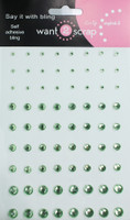 72 Count - Light Green Rhinestones - Self Adhesive