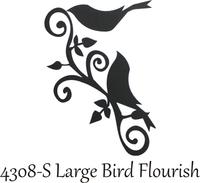Large Bird Flourish - Silhouette