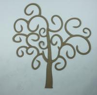 Fancy Swirls Tree Small Die Cut Size - Chipboard Embellishment