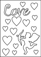Love-Cupid-Hearts Stencil
