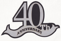 40th Anniversary laser die cut in Silver