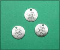 Live Laugh Love Circle Charm - Antique Silver