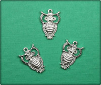 Owl Charm - Antique Silver