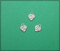 Made with Love Heart Charm - Antique Silver
