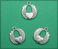 Wings of Love Charm - Antique Silver