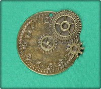 Clock with Gears - Antique Brass