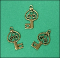 Marquis Key Charm - Antique Brass