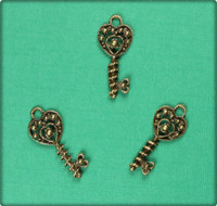 Wrapped around my Heart Key Charm - Antique Brass