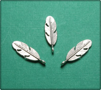Small Feather Charm - Antique Silver