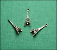 3D Eiffel Tower Charm - Antique Silver