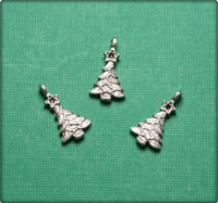 Christmas Tree Charm - Antique Silver