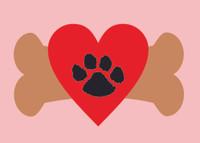 Dog Bones with Hearts Border - Laser Cut 1