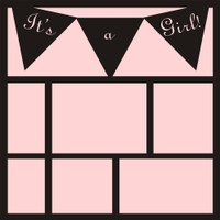 It's a Girl with Pennants - 12x12 Overlay