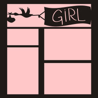 Stork with GIRL Banner - 12x12 Overlay