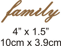 Family - Beautiful Script Chipboard Word