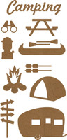Camping Chipboard Embellishment Pack