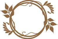 Frame - Round  with Leaf Flourish - Chipboard Embellishment