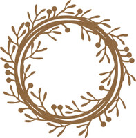 Frame - Round  with Leaves and Berries Flourish - Chipboard Embellishment