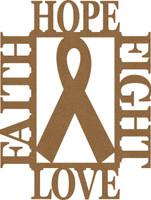Hope Faith Fight Love w Ribbon - Chipboard Embellishment