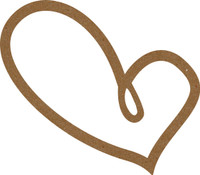 Chipboard Frame -4 pieces Funky Heart - Chipboard Embellishment