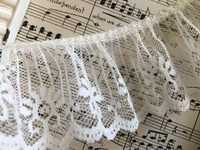 "Ruffled Lace  1 7/8"" White or Ivory"