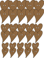Buttons - Shabby Chic Funky Heart (30 Pack) - Chipboard Embellishment