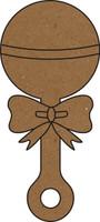 Baby Rattle  - Chipboard Embellishment