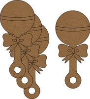 Baby Rattle 4 Pack - Chipboard Embellishment