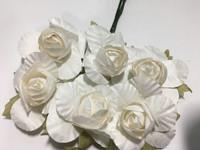 """White 1"""" Paper Flower  8009E"""