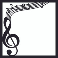 Treble Clef with Musical Notes - 12x12 Overlay