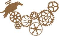 Steampunk Gears & Bird - Chipboard Embellishment