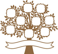 Tree with Decorative Frames Family Name